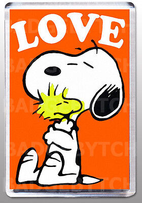 SNOOPY LOVE LARGE FRIDGE MAGNET - RETRO CLASSIC!