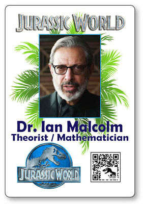 DR IAN MALCOLM JURASSIC WORLD NAME BADGE PROP HALLOWEEN COSPLAY MAGNET - Dr Halloween Names