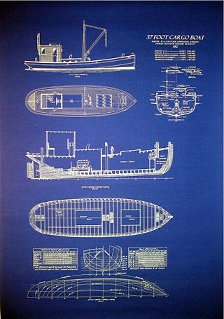 "Ships Plan New York Harbor Cargo Boat Blueprint Drawing 1912  24"" x 36"" (32)"