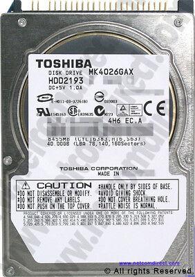 Toshiba MK4026GAX 40GB IDE 5400 RPM. 2.5