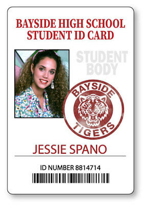 JESSIE SPANO SAVED BY THE BELL BAYSIDE  NAME BADGE HALLOWEEN COSPLAY PIN BACK