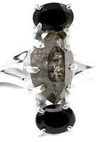 BLK SEEDED HERKIMER DIAMOND & 2 BLK ONYX Accent Stones Ring Sz 7