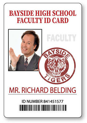 MR BELDING SAVED BY THE BELL BAYSIDE  NAME BADGE HALLOWEEN COSPLAY MAGNET BACK