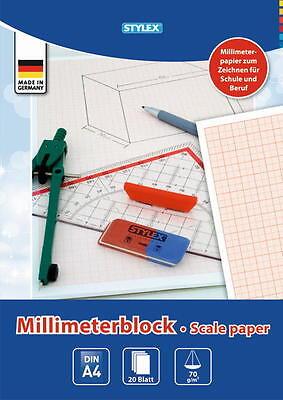 1 Millimeter - Block Din A4 25 Blatt Stylex Millimeterpapier Schule