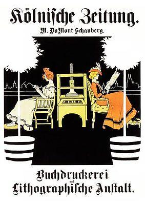 Kölnische Zeitung v. DuMont 1902 Druckerei Plakat Faksimile 118 auf Büttenpapier