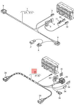 Genuine VW Adapter Cable Loom NOS VW Caravelle Eurovan Transporter 7D1972235