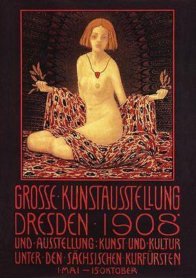 Kunstausstellung Dresden 1908 Plakat Büttenfaksimile 116