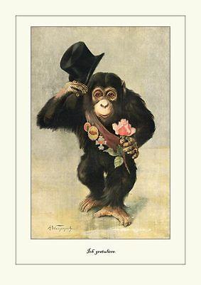 Ich gratuliere Faksimile 30x42cm nach Litho 1890 Kxz Affe Schimpanse Rose 29