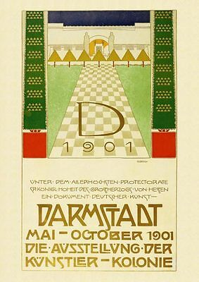 Darmstadt Künstlerkolonie Plakat um 1901  Büttenfaksimile 106