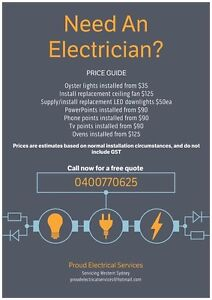 PROUD ELECTRICAL SERVICES do you need an Electrician? Penrith Penrith Area Preview