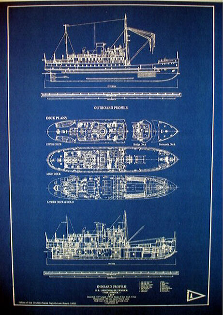 "US Coast Guard Lighthouse Ship USS HOLLYHOCK 1937 Blueprint Plans 17""x23"" (258)"