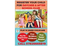 CHILDCARE DAY RATES under £35 Limited offer till end of November 2017