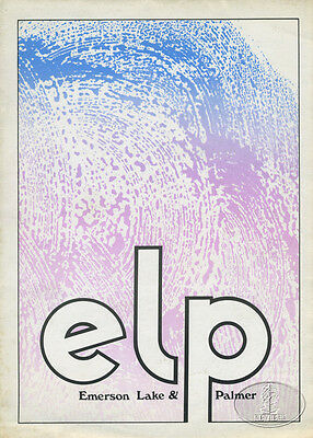 EMERSON LAKE & PALMER 1971 Tour Program/Poster Programme + TICKET STUB