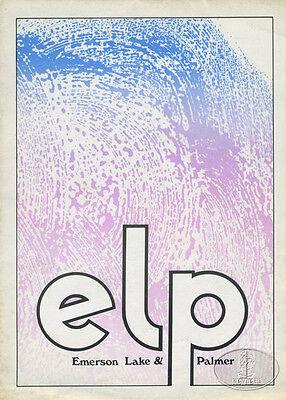 EMERSON LAKE & PALMER 1971 Tour Program/Poster Programme + TICKET STUB