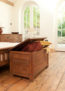 Solid Acacia Wooden Blanket Box Brown Wooden Bedroom Furniture Trunk Chest New Ebay