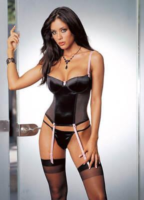 Lycra Bustier - Dreamgirl Sexy Stretch Satin & Lycra Net Underwire Bustier w Thong, Stockings