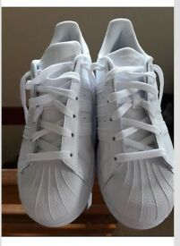 White Adidas Superstar Foundation Trainers - New without box, size 4