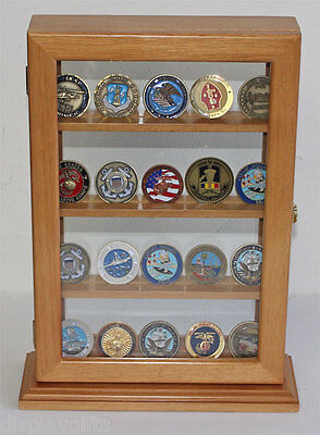 4 Shelves Military  GeoCoin Stand Counter Top Display Case - COIN12-OAK