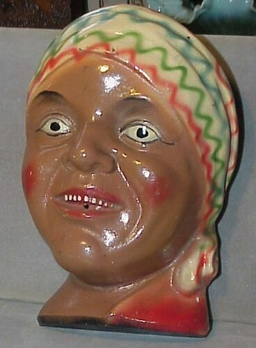 Unusual BLACK AMERICANA STRING  HOLDER -Woman with head scarf