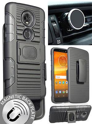 Black Rugged Case + Belt Clip + Magnet Car Mount for Motorola Moto E5 Plus/Supra
