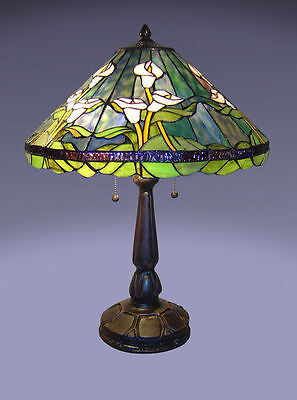Calla Lily Table - Tiffany Style Stained Glass Green Calla Lily Table Lamp New