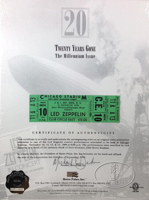 LED ZEPPELIN 1980 Unused Concert Ticket 20th Anniversary