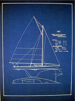 """Vintage Racing Sailboat 20 ft Sloop 1905 Blueprint Plan 14"""" x 18""""   (133)"""