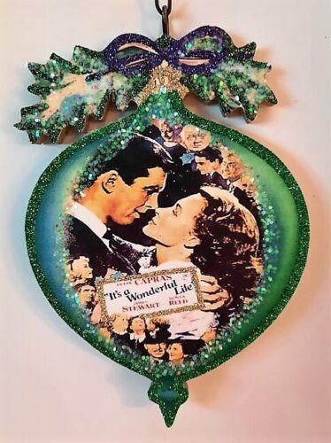 BAUBLE - WONDERFUL LIFE - GREEN w BOW  Glitter WOOD CHRISTMAS ORNAMENT * Vtg Img