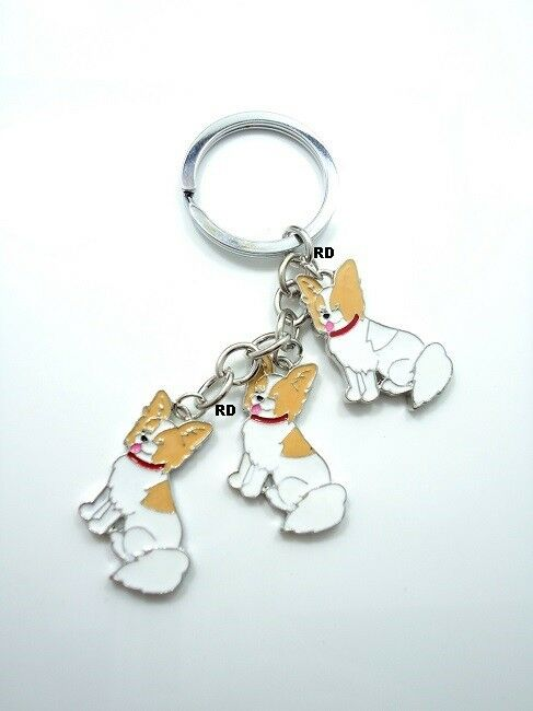 Papillon Lovers Key Chain or Purse Charm 3 Dogs