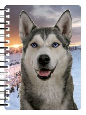 Siberian Husky 3D Notebook with Sunset background