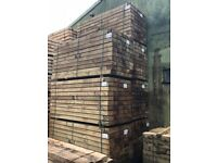 NEW SOFTWOOD TREATED SLEEPERS 2.4m x 195mm x 95mm