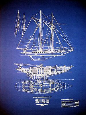 "Vintage Sailboat Yawl 37 Footer 1917 Blueprint Plan 24""x30"" (027)"