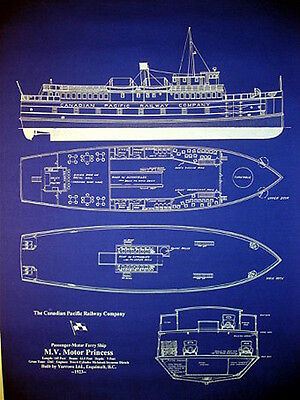 "Ships Plan Canadian Pacific Ferry Boat 1923 Blueprint Drawing 20""x27"" (019)"