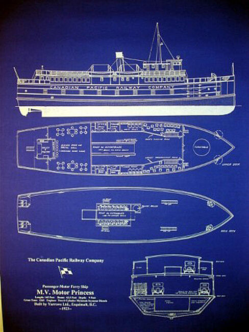 """Ships Plan Canadian Pacific Ferry Boat 1923 Blueprint Drawing 20""""x27"""" (019)"""