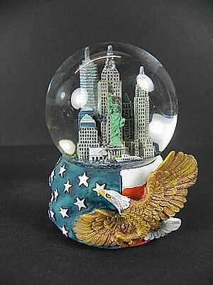 New York Schneekugel Snowglobe mit Eagle Adler,9cm,Empire State,Chrysler ..
