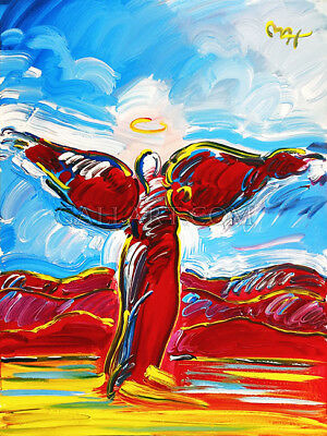 ASCENDING ANGEL by PETER MAX Signed (Original) 48 x 36 Acrylic On Canvas -RARE