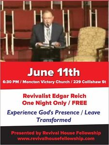 Revivalist Edgar Reich at Moncton Victory Church one night only!