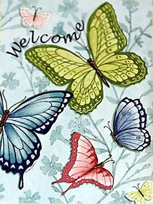 Large Welcome Butterflies Spring House Flag Decorative ...