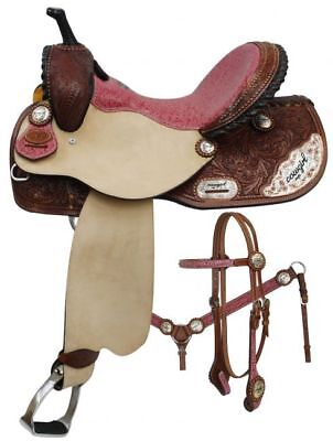 Double T COWGIRL UP Pink Filigree Seat BARREL SADDLE Bridle Breastcollar & Reins ()