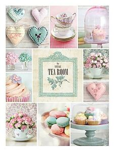 Vintage Tea Room Tea Cupakes Cake Cream Tea Canvas Wall Art Picture