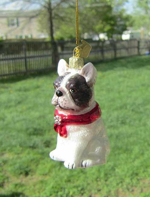 Quality Glass FRENCH BULLDOG Blown Glass Dog Breed Christmas Ornament