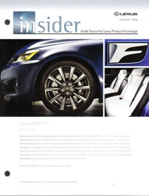 2008  08  Lexus Insider magazine IS F original sales brochure