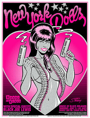 NEW YORK DOLLS - HOUSE OF BLUES - ORLANDO  - 2009 - TOUR POSTER - STAINBOY