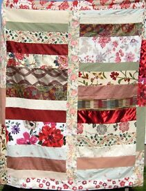 HOMEMADE PATCHWORK THROW - SUMMER MEADOW £25 Red,Green - Ideal for a Sofa, Bed or Picnic Blanket