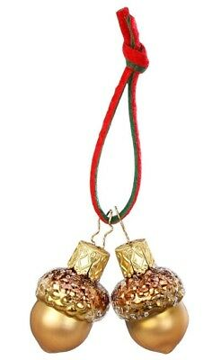 Inge Glas Oak Tree Mini Acorn, pair 68700 German Glass Christmas Ornament