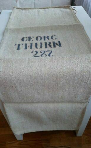 GRAINSACK-Grain sack printed-black  writing hemp-linen-RUSTIC primitive textile