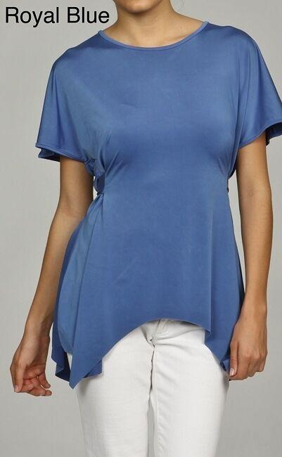 NEW W118 by Walter Baker Women's Scoop Neck Tie Belt Tunic Shirt - blue -Small