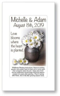 Personalized Daisy Wedding Bridal Favors Seed Packets Country Rustic - Personalized Wildflower Seed