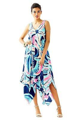 Juwelen Kleid (Neu Lilly Pulitzer Anise Seidenkleid Multi Ozean Juwelen Blau Pink Stern S)
