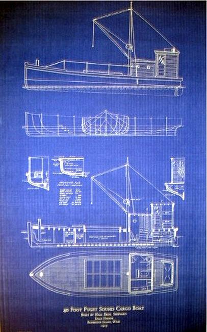 "Ships Plan Eagle Harbor WA Cargo Boat 1913 Blueprint Drawing 23""x33"" (038)"